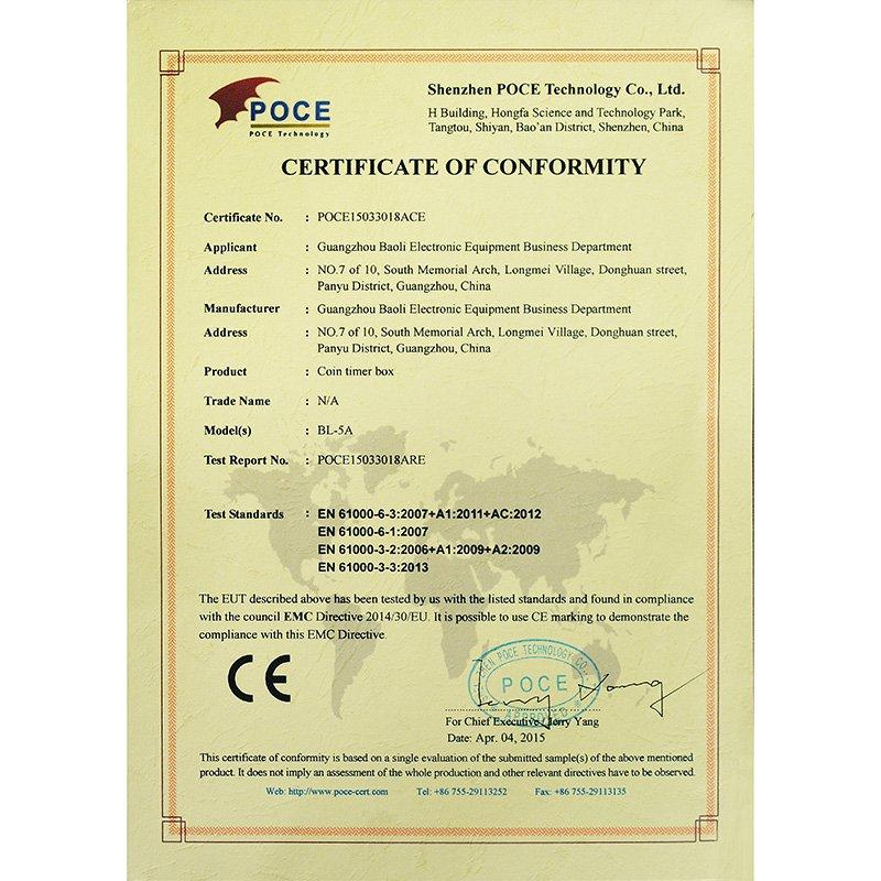 Coin Timer Box Pass the Listed Standards Test and Obtain the CE Certificate
