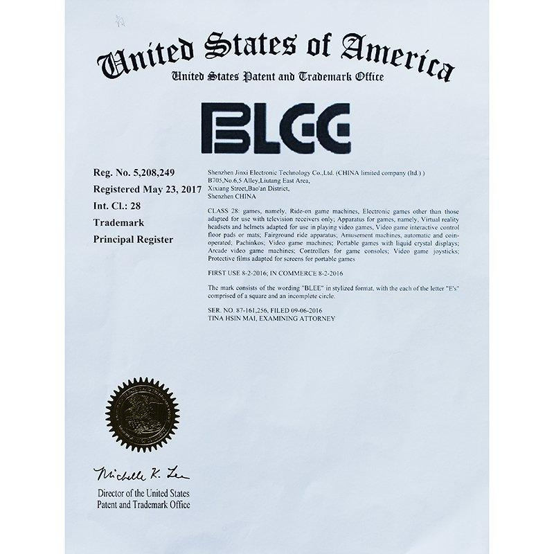 Arcade Game Obtain Certificate of United States Patent and Trademark Office