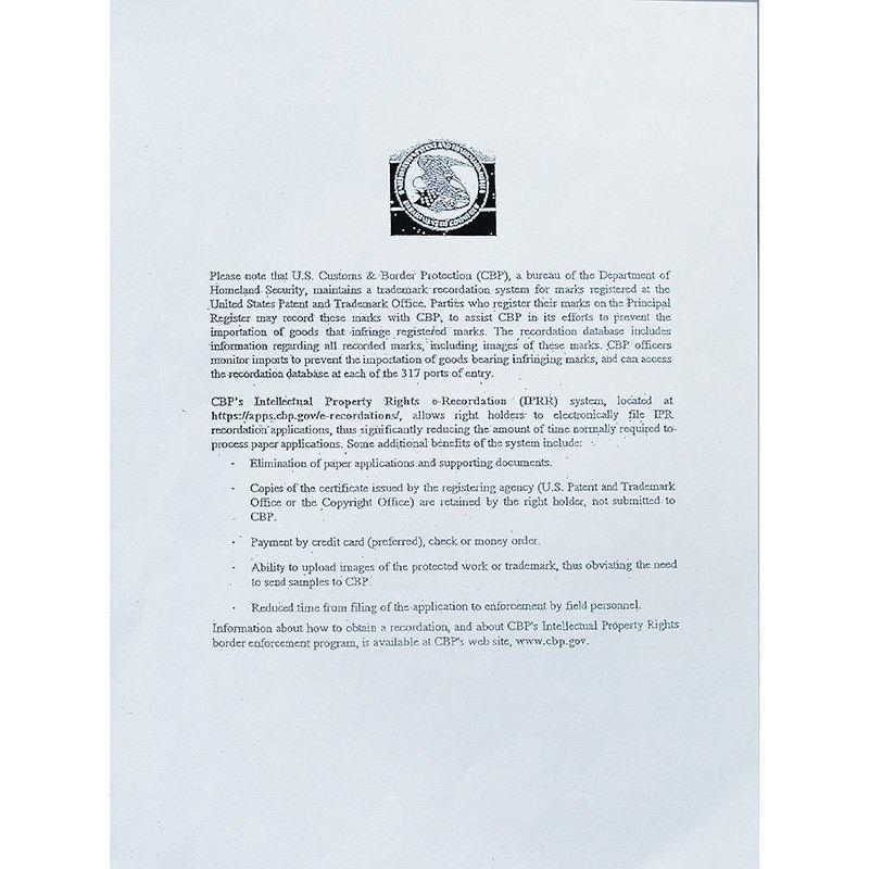 BLEE Submits Registered Trademark Information to the  U.S. Custons & Border Protection (CBP)