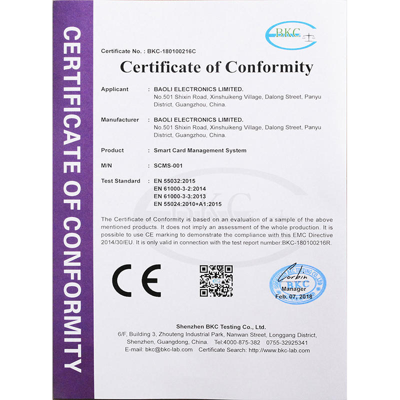 BLEE's Smart Card Management System Obtain the CE Certificate