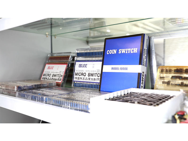 Token Coins, Game Board, Arcade Button, Coin Acceptors Display in Showroom