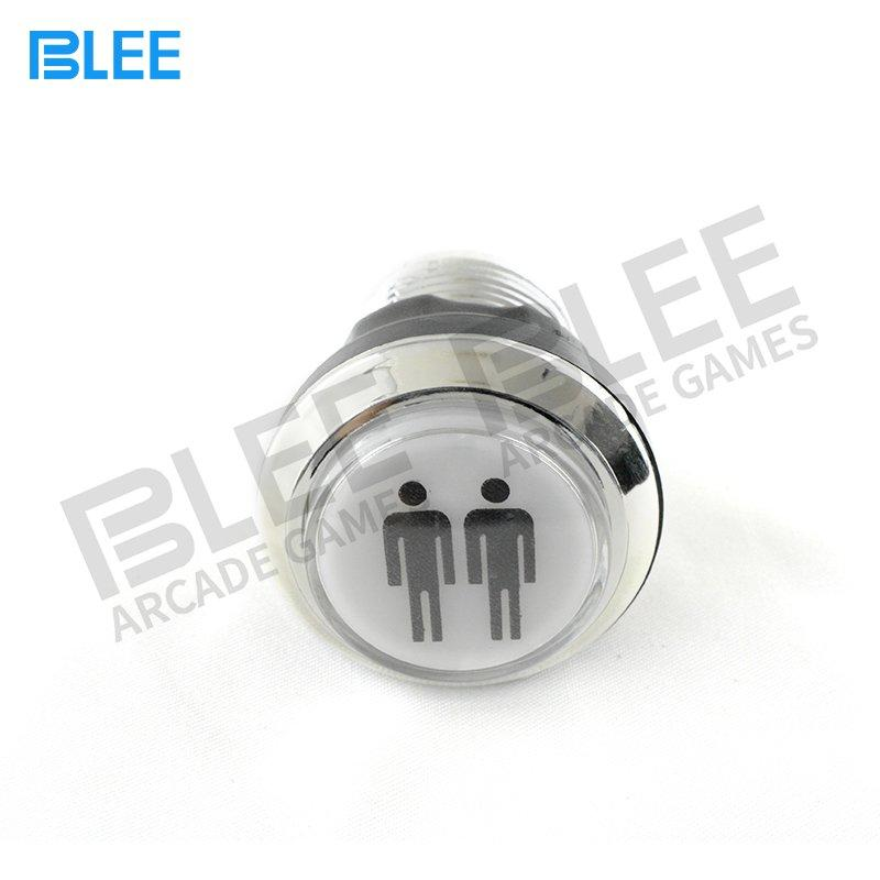 2 Players Silver Plated LED Illuminated Arcade Push Button With Microswitch