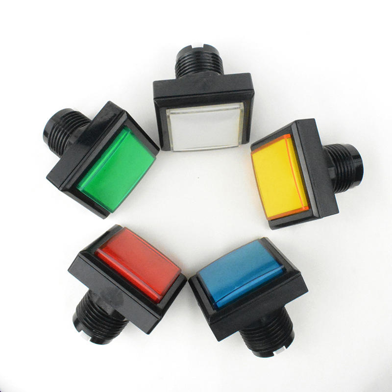 Arcade parts 40mm button red yellow blue green white round momentary 5V LED illuminated plastic arcade push buttons