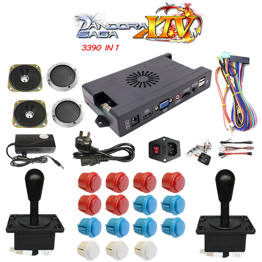 3390 in 1 3D pandora Box 14 DIY Arcade Kit game board 8 way American Style joystick & Push Button